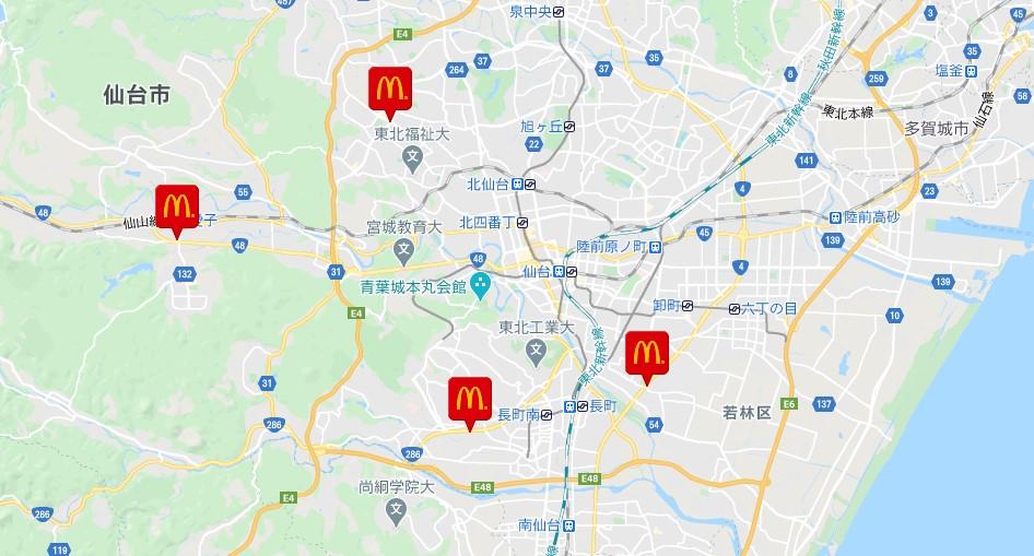 マックカフェがある仙台市の4店舗の地図