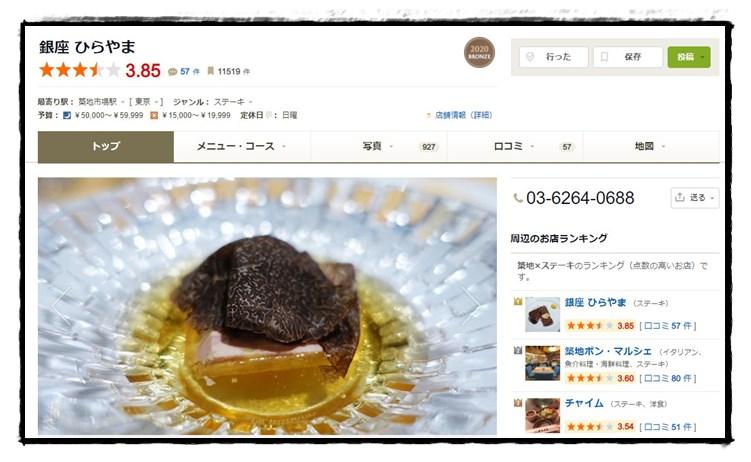 食べログの「銀座ひらやま」