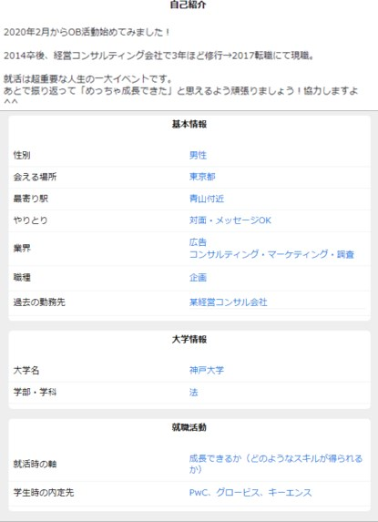 OBトークでの丸田憲司朗のプロフィール